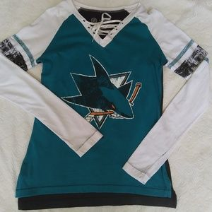 Tops - San Jose Sharks Long Sleeve Lace Up Top